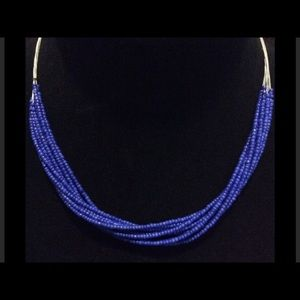 Beautiful rich royal blue beaded necklace